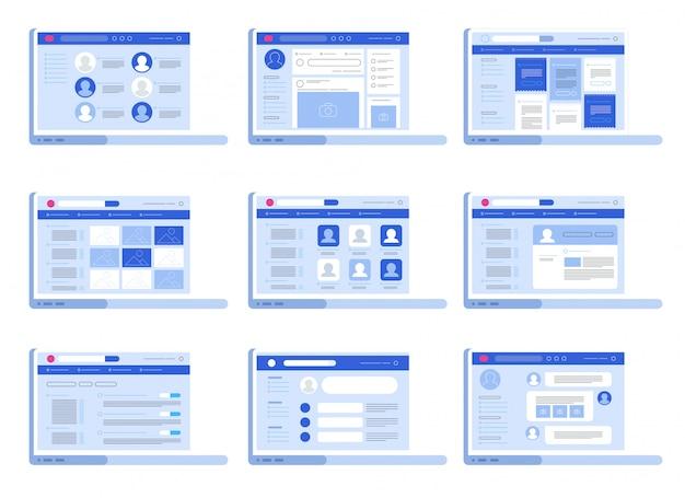 Sociaal netwerk web interface set