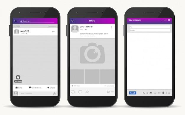 Sociaal netwerkframe, post-berichtensjabloon, vector