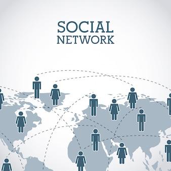 Sociaal netwerkontwerp over grijze achtergrond