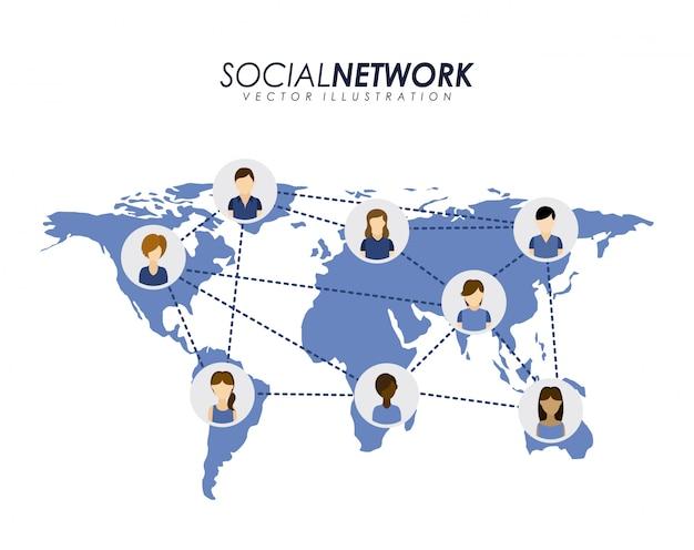 Sociaal netwerkontwerp over witte vectorillustratie als achtergrond