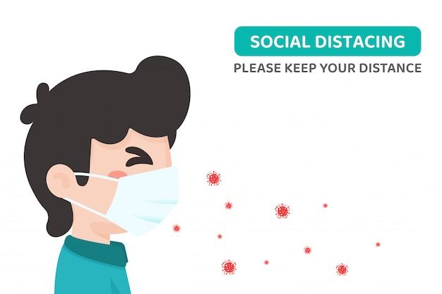 Social distancing. corona-virus dat door het masker van de patiënt gaat. concept van afstand met anderen.