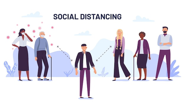 Social distancing. de verspreiding van virussen voorkomen. mensen op afstand beschermen tegen coronavirus, sociale bescherming. illustratie