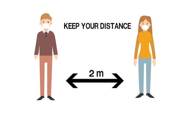 Social distancing. houd de afstand van 1-2 meter aan. coronavirus-epidemie beschermend.