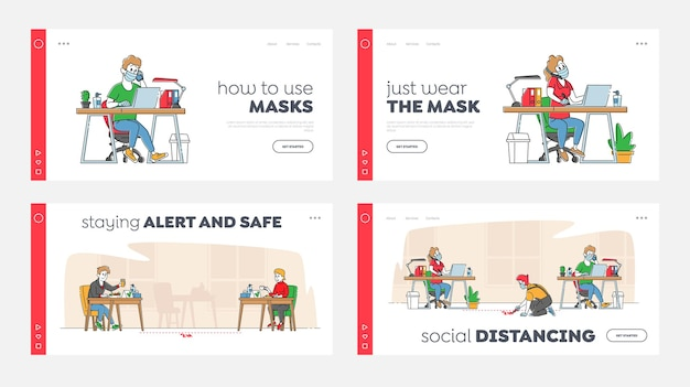 Social distancing landing page template set