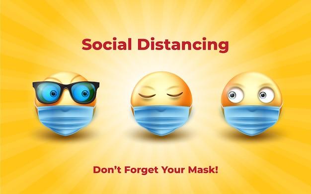 Social distancing met 3d-maskeremoji-illustraties