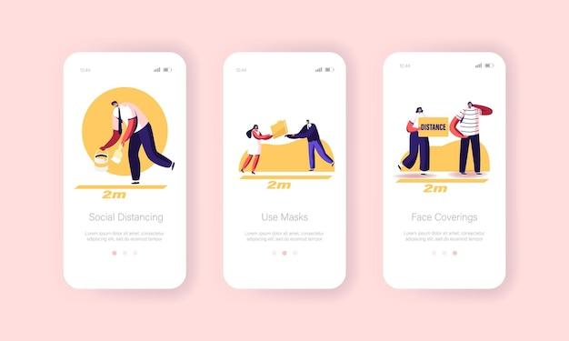 Social distancing mobiele app-pagina onboard-schermsjabloon