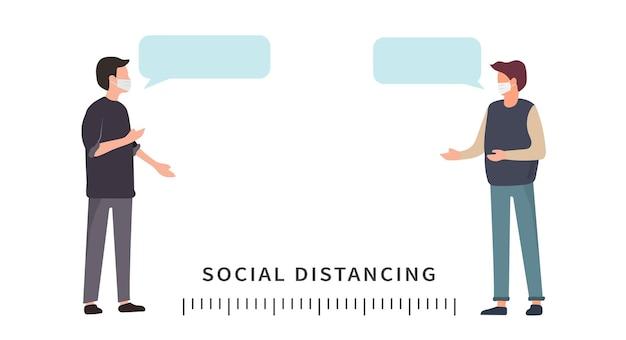 Social distancing ruimte tussen mensen om verspreiding van het covid19-virus te voorkomen
