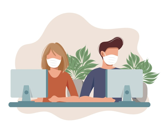 Social distancing werkplek een man en een vrouw met medische maskers houden een sociale afstand op het werk