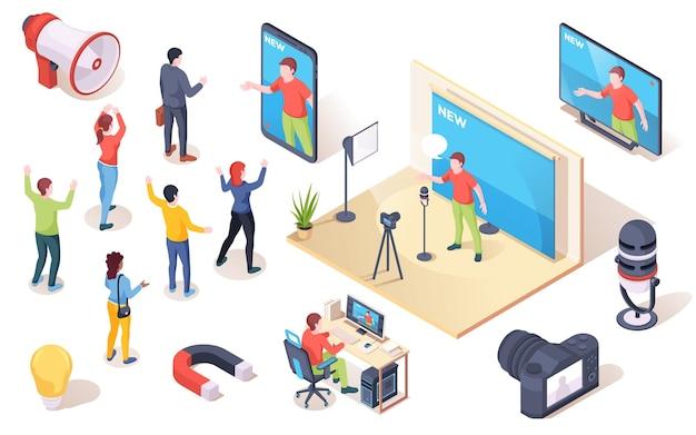 Social influencer merk opinieleider en marketing publiek beïnvloeden vector isometrische pictogrammen