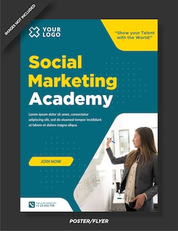 Social marketing academy poster ontwerpsjabloon