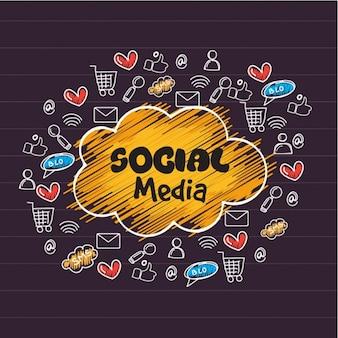 Social media achtergrond met de hand getekende iconen
