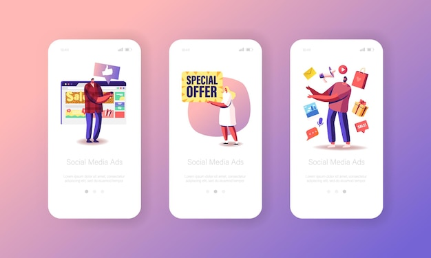 Social media-advertentie, verkoop, speciale aanbieding mobiele app-pagina onboard-schermsjabloon