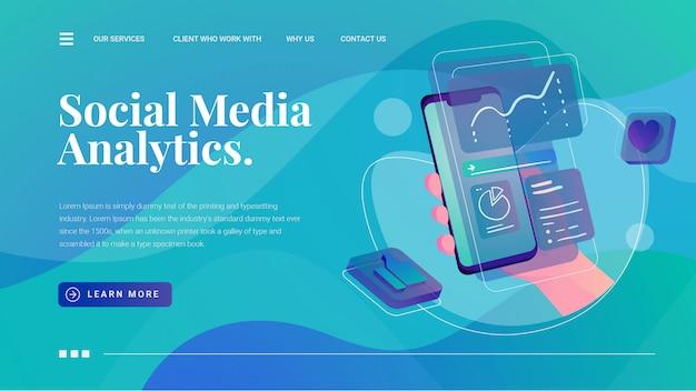 Social media analytics met hand grijpt landingspagina voor statistiekweergave van telefoonweergave