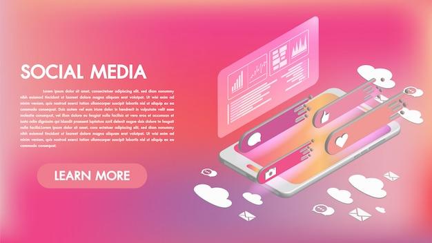 Social media-apps op een smartphone 3d isometrische pictogrammen