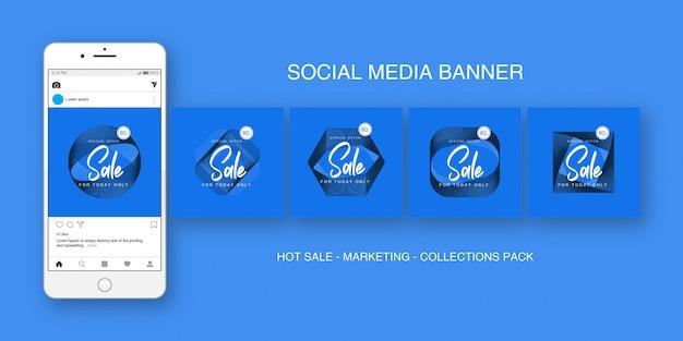 Social media banner instagram blauw collecties pakket