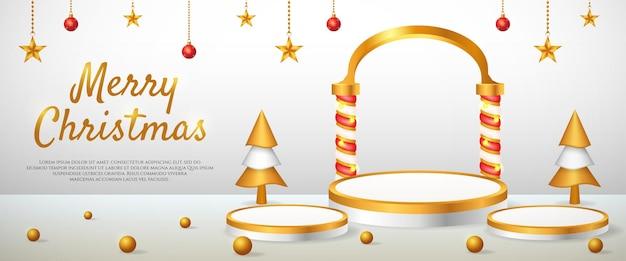 Social media banner met 3d-productweergave kerst en nieuwjaar podium goud