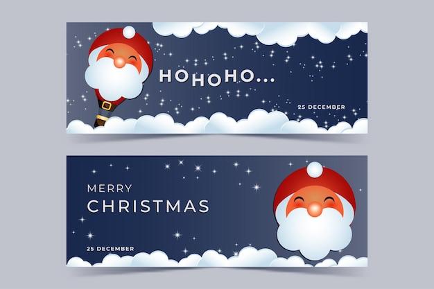 Social media banner met de kerstman in de vorm van een luchtballon