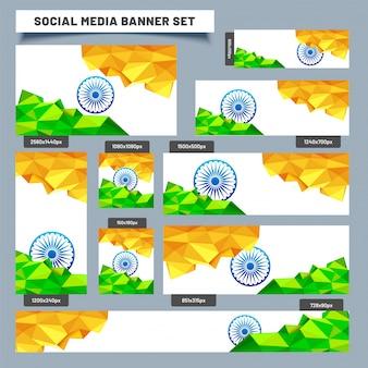 Social media banner set met lage polykleuren indiase vlag.