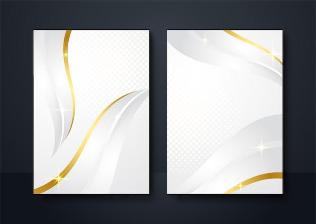 Social media banner witgouden achtergrondkleur. abstracte decoratie, gouden lijnen, halftone verlopen, 3d-vectorillustratie. wave voorbladsjabloon, geometrische vormen, moderne minimale banner