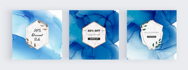 Social media banners met blauwe alcohol inkt handgeschilderde achtergrond en geometrische marmeren kaders en bladeren.