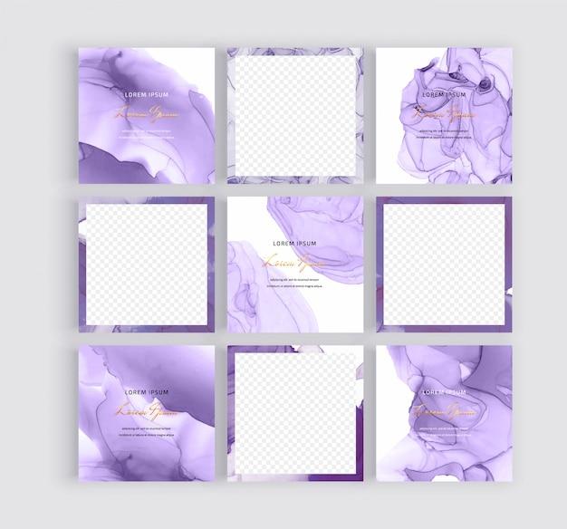 Social media banners met paarse alcohol inkt textuur.