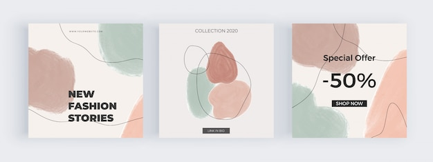 Social media banners uit de vrije hand met geometrische handgeschilderde aquarel vormen