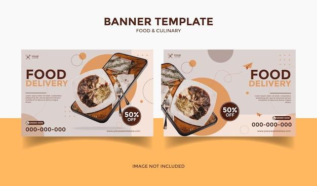 Social media-bannersjabloonpost met telefoon voor foodrestaurant en culinaire verkoop