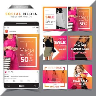 Social media bericht ontwerpsjabloon fashion verkoop ontwerp