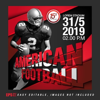 Social media bericht voor american football rugby competition