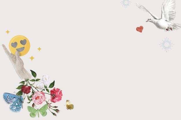 Social media bloemenrand met dwergpapegaaien geremixte media