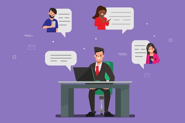 Social media chatten wereldwijd concept