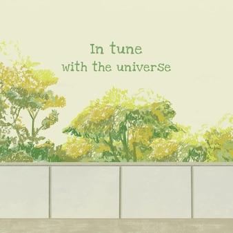 Social media citaatsjabloon evenwichtige levensstijl handgetekende illustratie, in harmonie met het universum