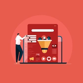 Social media communicatie-analyse vector social media-pixel om websiteconversie bij te houden