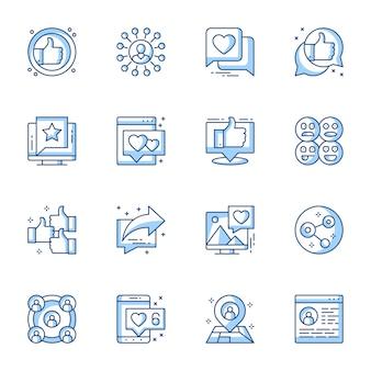 Social media communicatie lineaire pictogrammen instellen.
