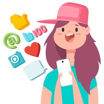Social media concept illustratie met schattig meisje in baseball cap, mobiele telefoon en web pictogrammen.