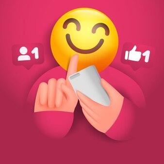 Social media concept kaart met glimlach hoofd beheren slimme telefoon en touchscreen