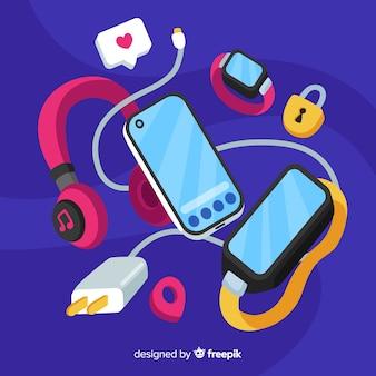 Social media concept met antigravity smartphone