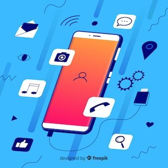 Social media concept met isometrische mobiele telefoon