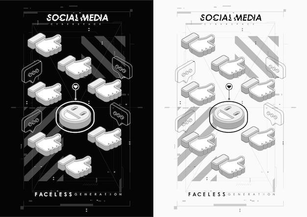 Social media concept poster. moderne promotie webbanner voor mobiele apps voor sociale media.