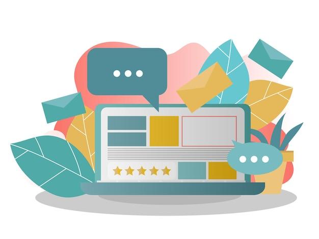 Social media concept voor presentatie. sociaal netwerk, sociale beïnvloeder, sociale marketing, het delen van media-informatie. creatieve vectorillustratie voor spandoek, poster, website in moderne kleuren