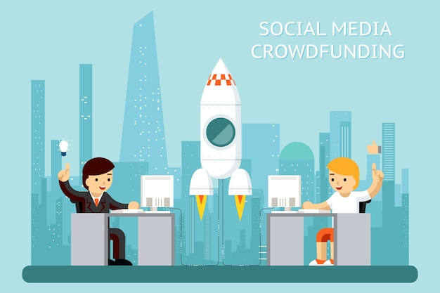 Social media cowdfunding illustratie