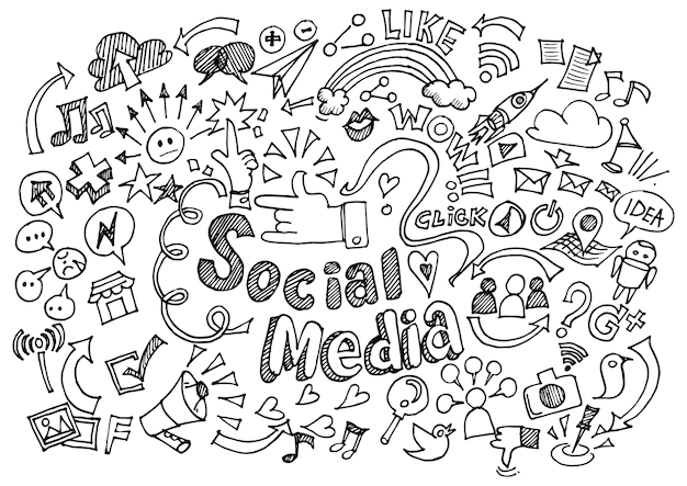 Social media doodle achtergrond