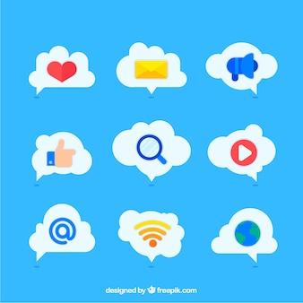 Social media-elementen in een cloud-vorm