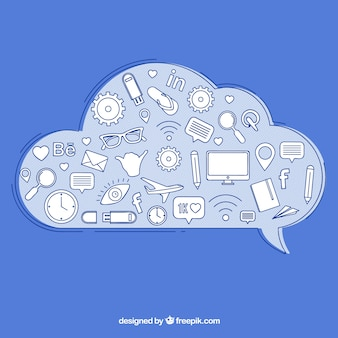 Social media-elementen in een wolkvorm met pictogrammen
