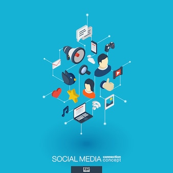 Social media geïntegreerde web iconen. digitaal netwerk isometrisch concept. verbonden grafische stippen en lijnsysteem. abstracte achtergrond voor markt, aandeel, communicatie en service. infograph