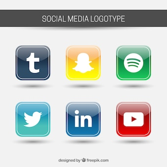 Social media gekleurde pictogrammen