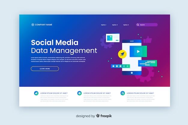 Social media gradient landingspagina