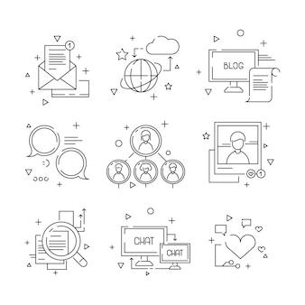 Social media icon, webgemeenschap mensen symbolen van groep leren praten foto's avatars lineaire set geïsoleerd