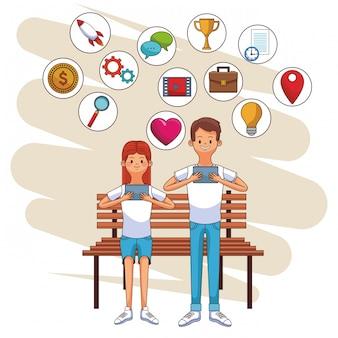 Social media iconen cartoon