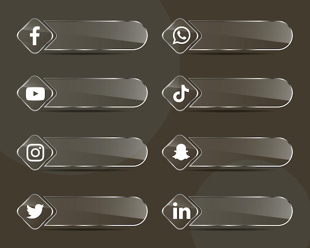 Social media iconen glaslabels collectie pack